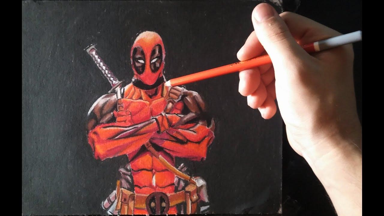 Cómo dibujar a Deadpool con lápices pastel de colores paso por paso ...