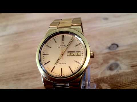 VINTAGE OMEGA RARE DAY DATE GENEVE MENS CAL 1022 WATCH AUTOMATIC MOVEMENT GOLD BRACELET
