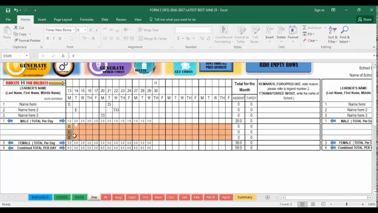School Form 2   SF2 ( Automated Attendance Sheet For Students ) SY 2016 2017  Attendance Sheet For Students