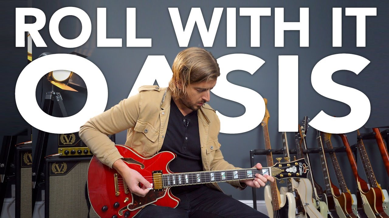 """Easy Oasis Song - """"Roll With It"""" guitar lesson + SIMPLE SOLO!"""