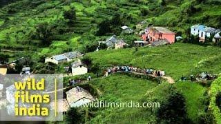 Procession of Nanda Devi Raj Jat Yatra passing through Mandoli Vilage - Uttarakhand