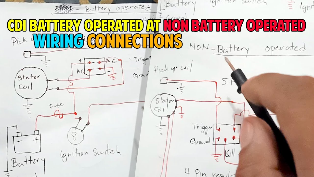 Cdi Battery Operated At Non Battery Operated Wiring Connections Youtube
