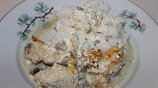 Куриное филе с грибами в сливках