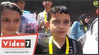 أطفال بوقفة حركة فتح أمام الجامعة العربية: ساعدونا فى تحرير الأقصى