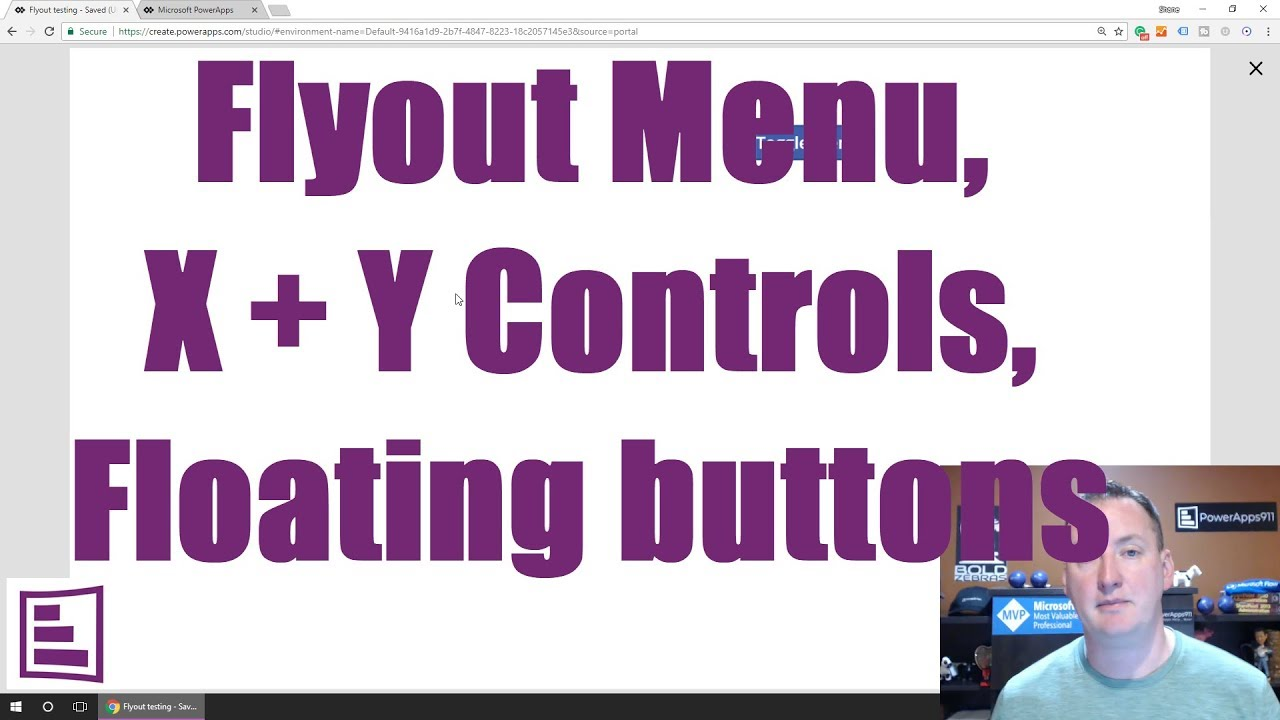 PowerApps flyout menus, floating buttons, and X Y Controls
