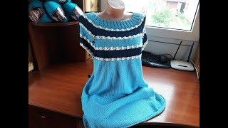 Платье (туника) цветочным узором (спицами). Часть 4.