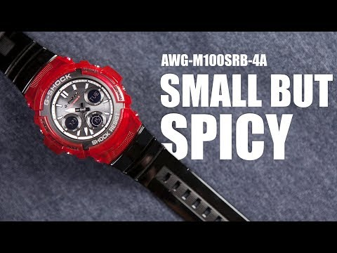 SMALL BUT SPICY ! G-SHOCK AWG-M100SRB-4A  - UNBOXING & SPEC