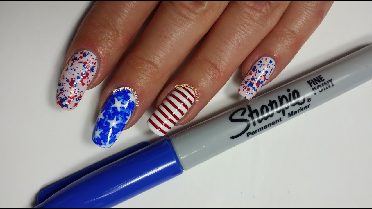Sharpie Nail Art 4th Of July Easy Design Youtube