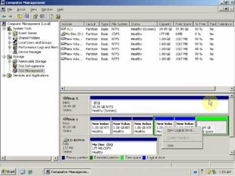 How To Create Partitions - Windows Server 2003