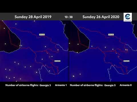 Air traffic situation over Georgia and Armenia - 26 April 2020 vs 28 April 2019