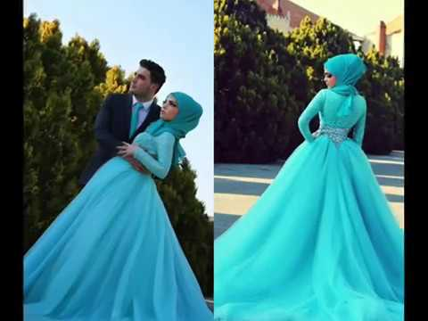The Latest Islamic Wedding Gowns With Hijab 2017 - YouTube