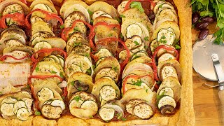 Greek Briam Puff Pastry Tart VEGAN