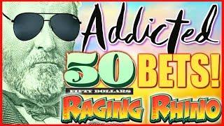 💸 ADDICTING! BETTING $50 SPINS! 💸MEGA PLAY Raging Rhino Rampage Slot Machine   Slot Traveler