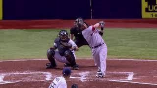 Dustin Pedroia MLB slow motion instant replay baseball swing 15 HR FB overhead