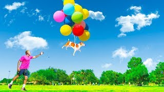 25 GIANT HELIUM BALLOONS TIED TO MY BEST FRIEND'S DOG PRANK! (1,000 Ft IN THE SKY)