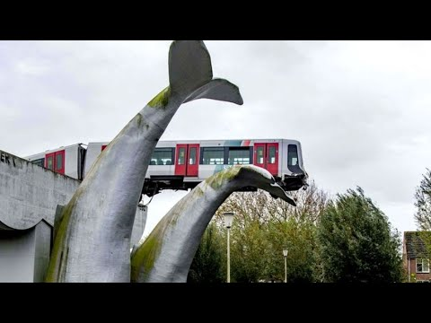 Statue Stops Train From Falling Off