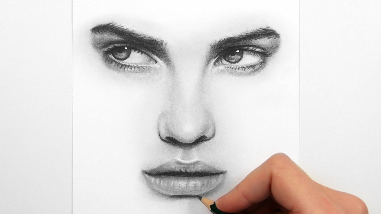 Drawing Eyes, Nose and Lips with Graphite Pencils - YouTube