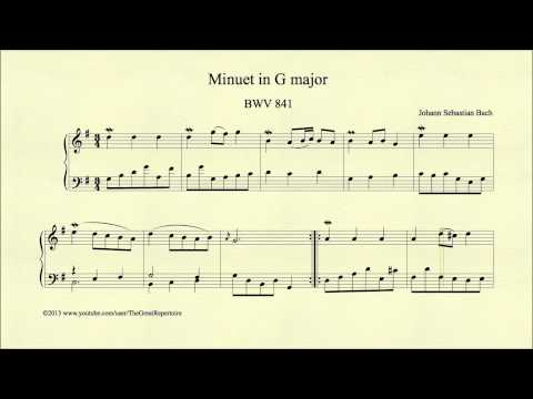 Bach, Minuet in G major, BWV 841, Piano