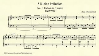 Bach, Prelude in C major, BWV 939, Piano