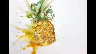 Pineapple in Watercolors Painting Demonstration