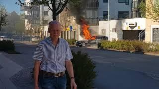 Rån och bilbrand i varberg