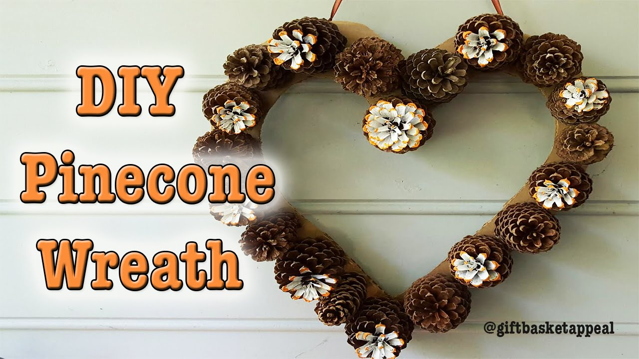 Diy heart pinecone wreath tutorial giftbasketappeal youtube solutioingenieria Gallery
