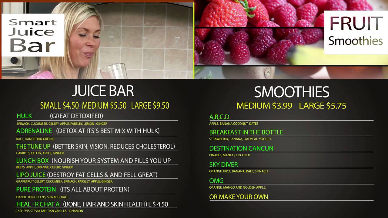 Menu smart juice bar youtube for Whole food juice bar menu