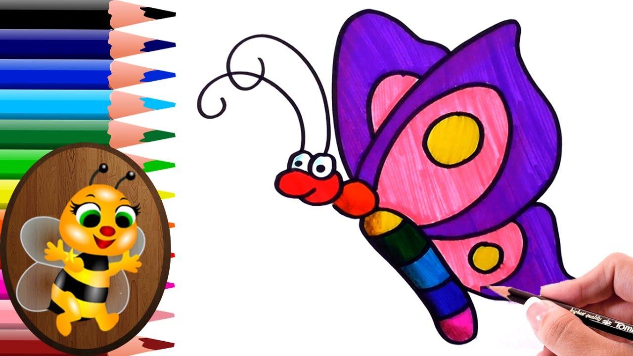 Dibujando Y Pintando Mariposa De Colores Dibujos Para Niños How