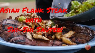 Asian Flank Steak with Shishito Peppers and Shiitakes