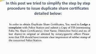 Lost Share Certificates