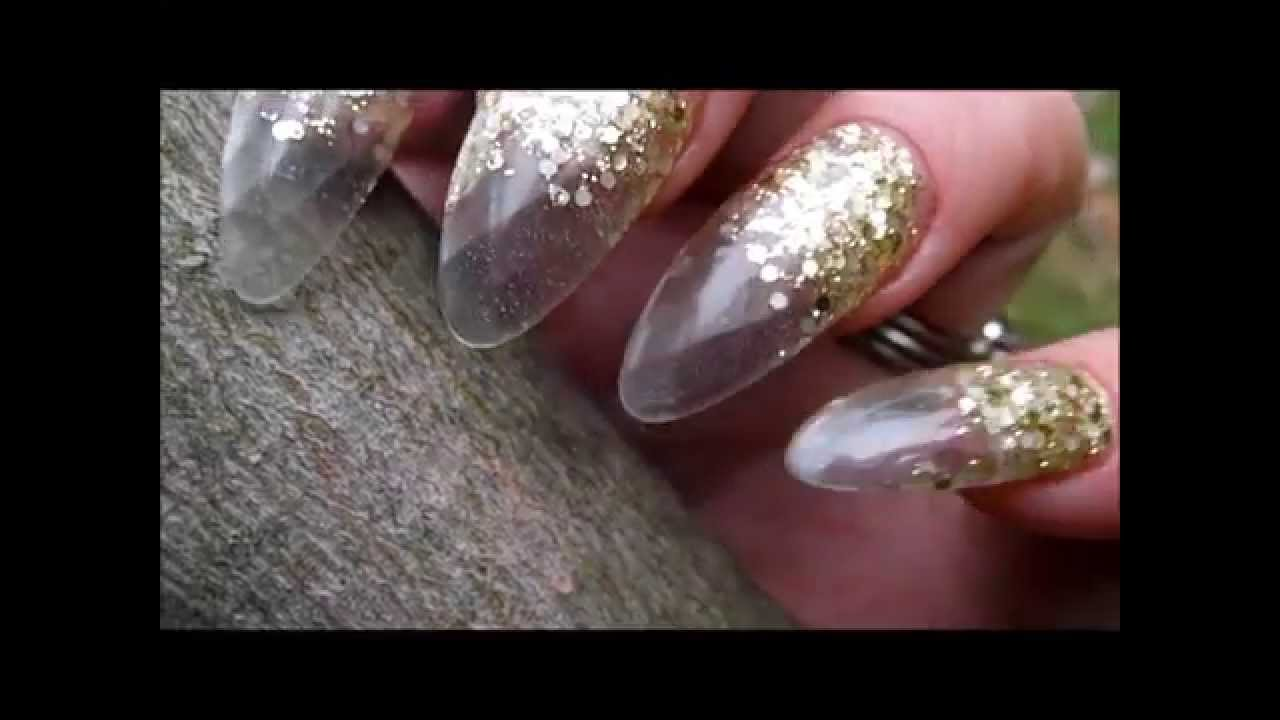 How To Diamond Tips Acrylic Nails Clear Easy Youtube