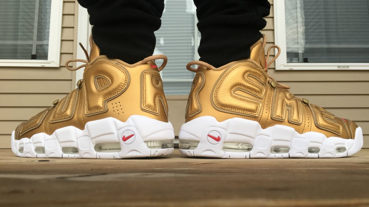NIKE X SUPREME AIR UPTEMPO METALLIC GOLD ON FOOT LOOK!!! - YouTube ce3dc6c5f