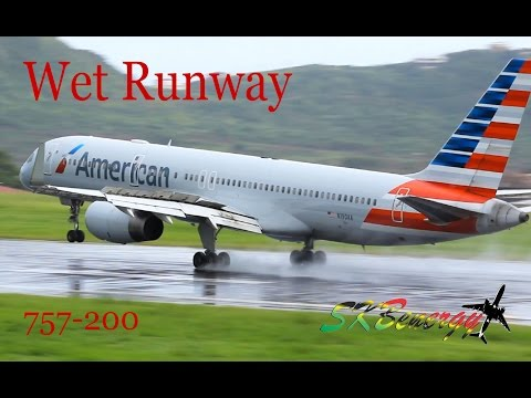 American Airlines 757-200 Wet Runway Action @ St. Kitts Robert L. Bradshaw Int'l Airport
