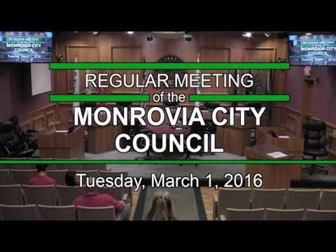 Monrovia City Council   March 1, 2016   Regular Meeting