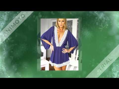 Blue Deep V Neck Lace Loose Dress  SheIn