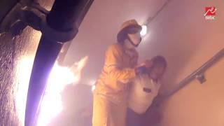 شاهد ماذا فعلت مها ابو عوف أثناء نقلها إلى سطح الفندق