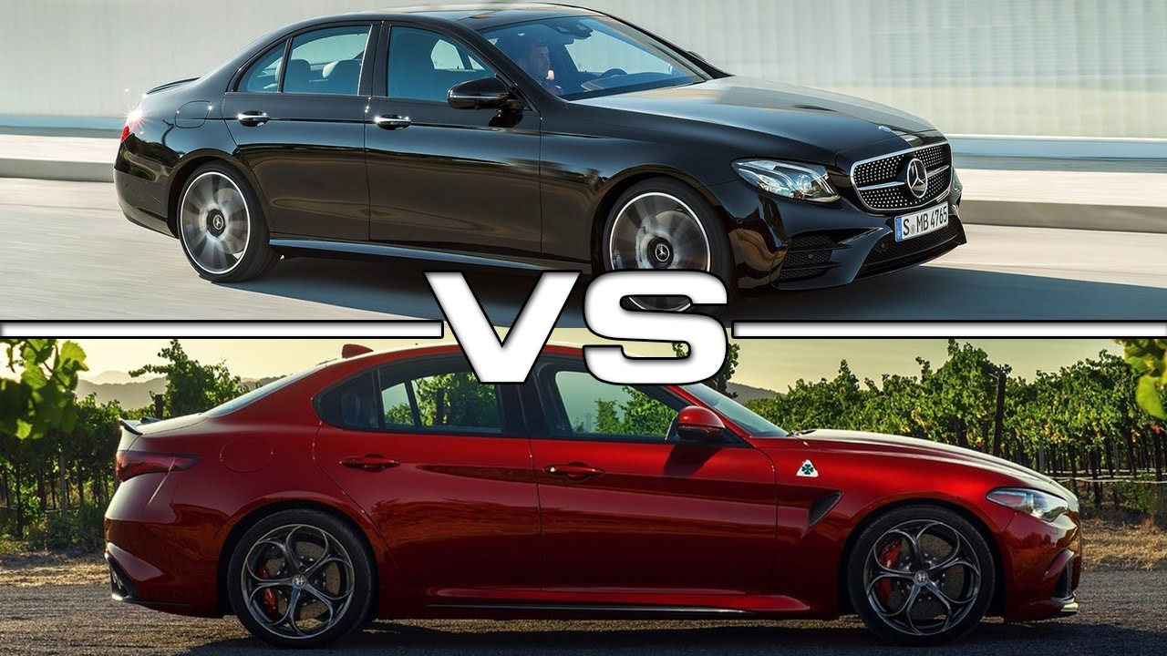 Mercedes e43 amg vs alfa romeo giulia youtube for Alfa romeo vs mercedes benz