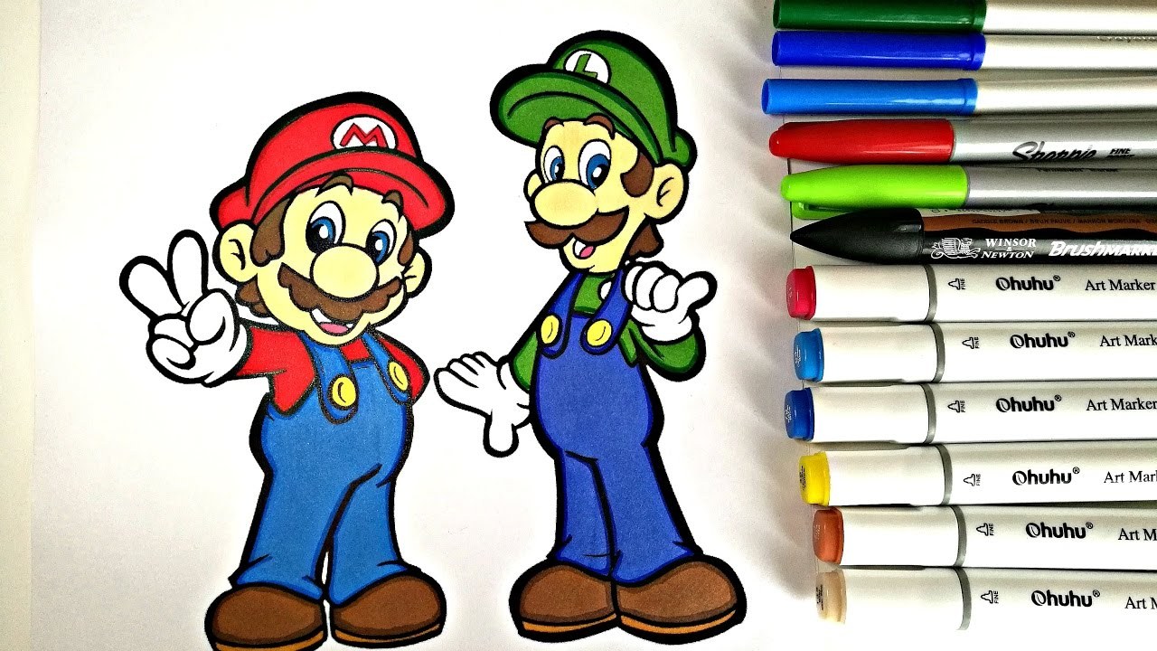 mario u0026 luigi coloring page colorfulcat youtube