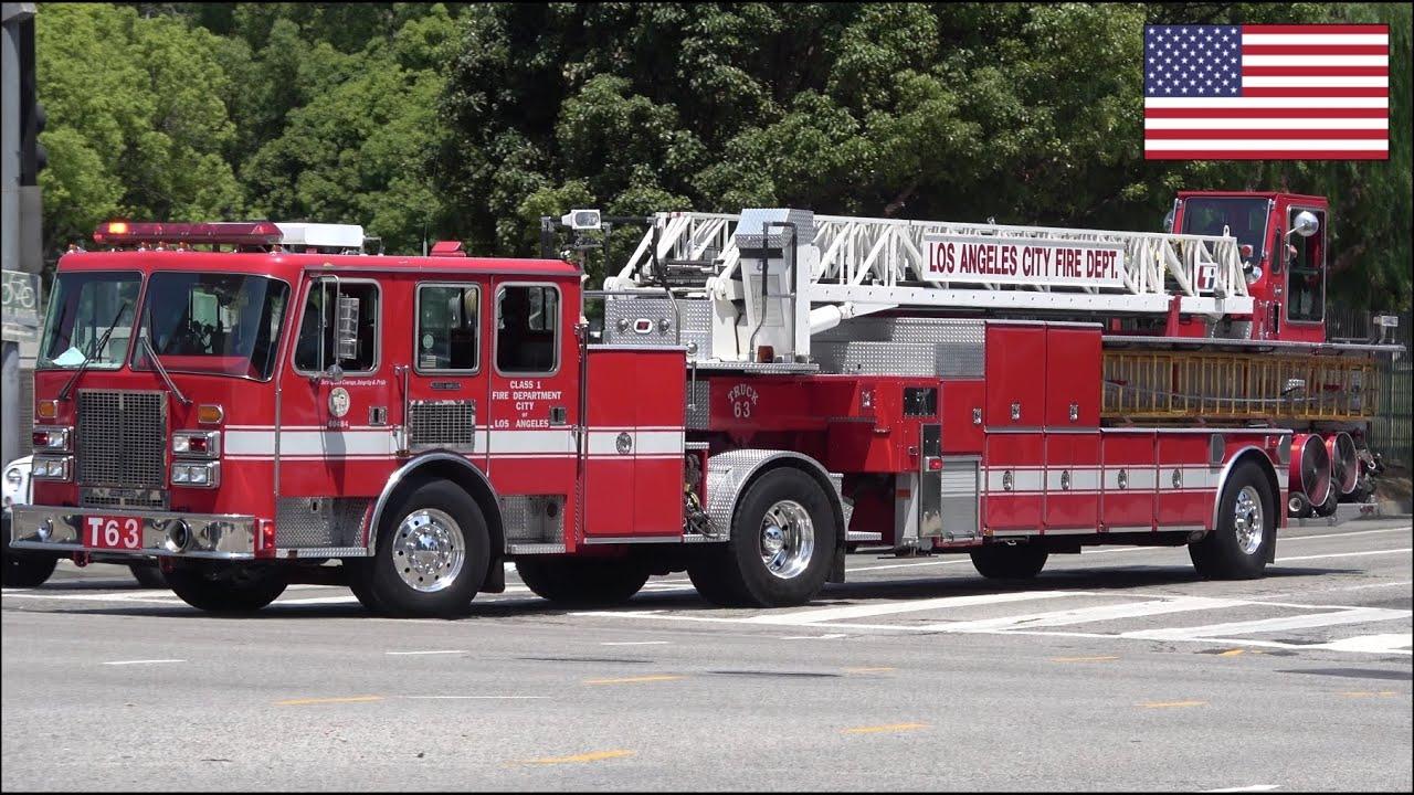 Spare LAFD Fire Truck 63 + Engine 263 responding - Air horn + Q Siren