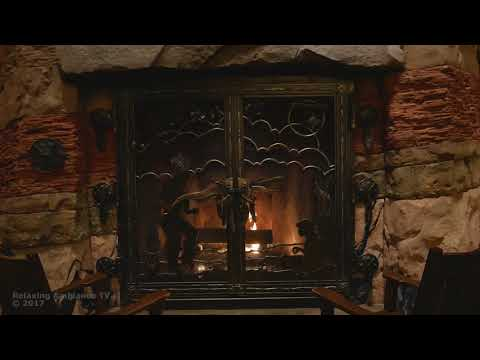 Disneys Wilderness lodge fireplace - with music 4k 1 hour