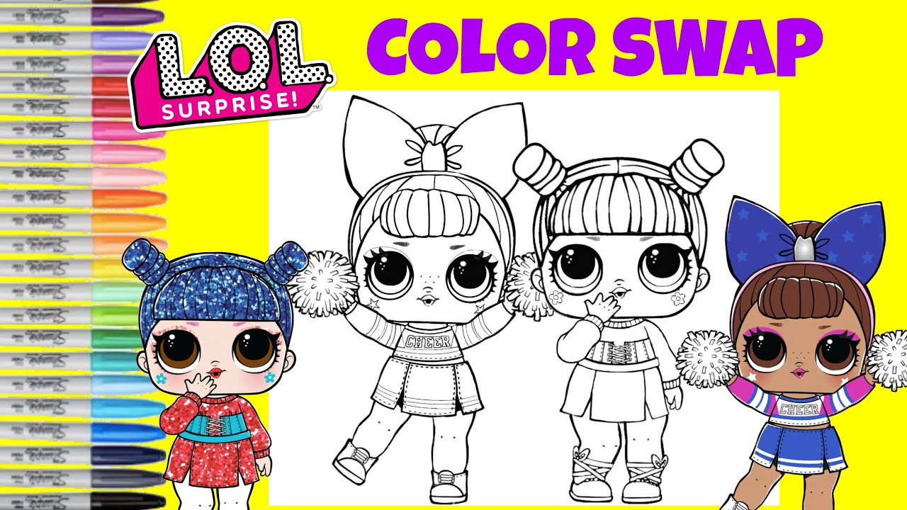 Lol Surprise Coloring Book Page Color Mix Up Kawaii Queen And Sis Cheer Lol Surprise Makeover Youtube