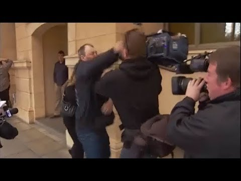 TV cameraman punched in face outside Adelaide courts, South Australia RAW