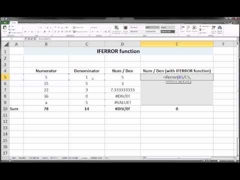 Excel - IFERROR function