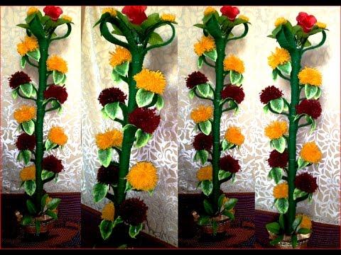Merigold Genda flower plant making with wool threads #Anuj Kumar stitching tutorials 205
