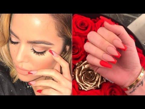 Khloe Kardashian Hot Red Inspired Nails - YouTube