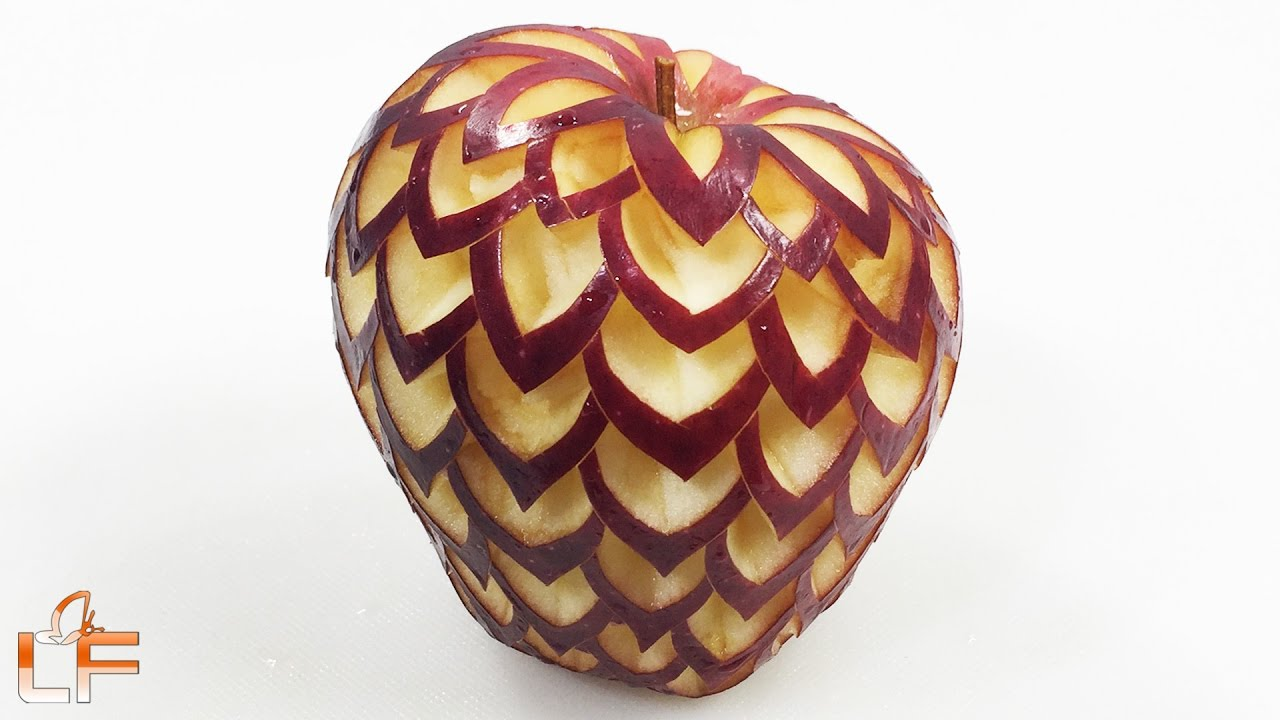 How to make apple carving the in fruit designs