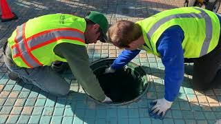 "Installation of a 24"" Round Manhole Under-Grate NoFlood Filter! (UG24R)"