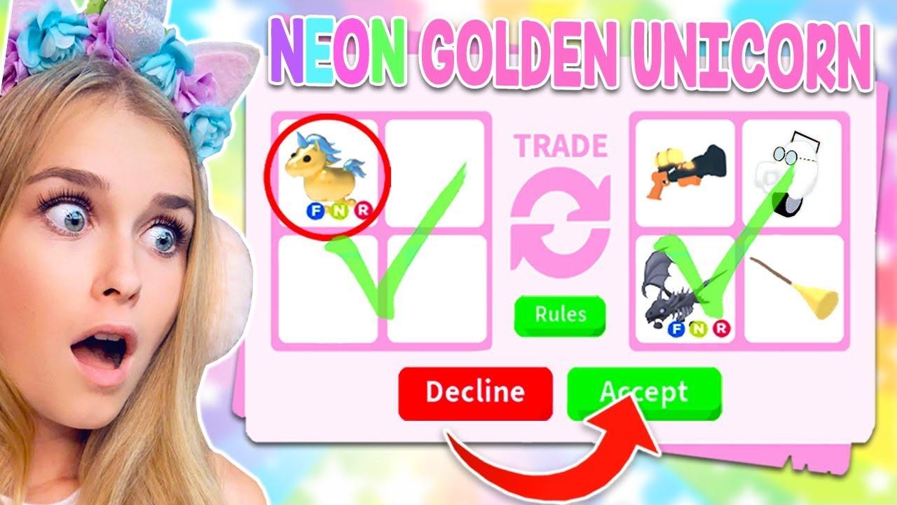 Trading Neon Golden Unicorns In Adopt Me Roblox Youtube