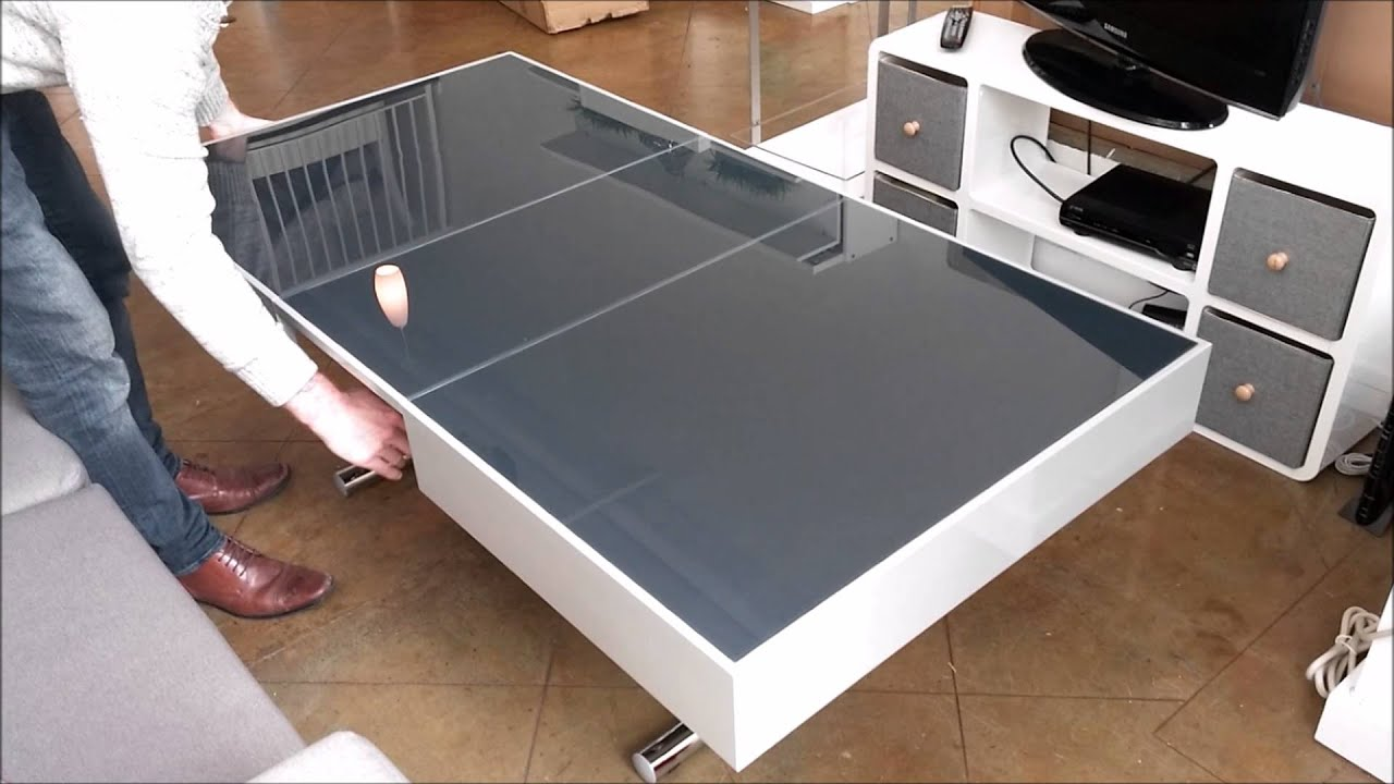 Space Saving Furniture Demonstration With Glass Coffee To