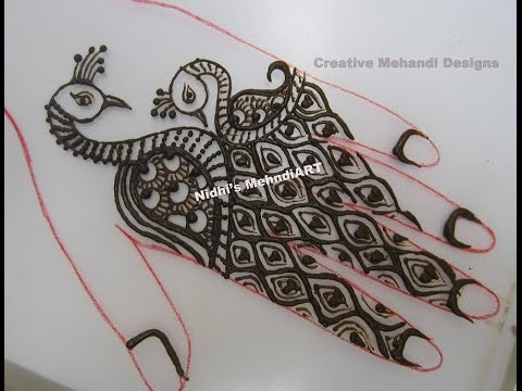Mehndi Peacock Tattoos : Unique cute peacock bird henna mehndi design for back hand youtube